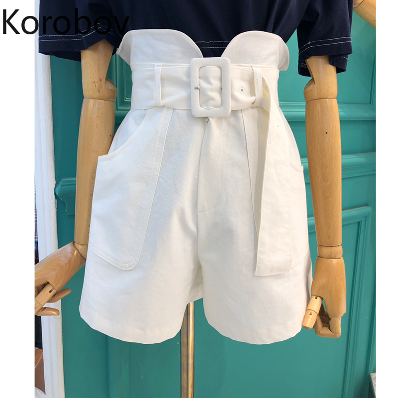 Korobov Korean High Waist Hip With Belt Shorts Feminino Summer 2020 New Solid Pocket Design Wide Leg Short