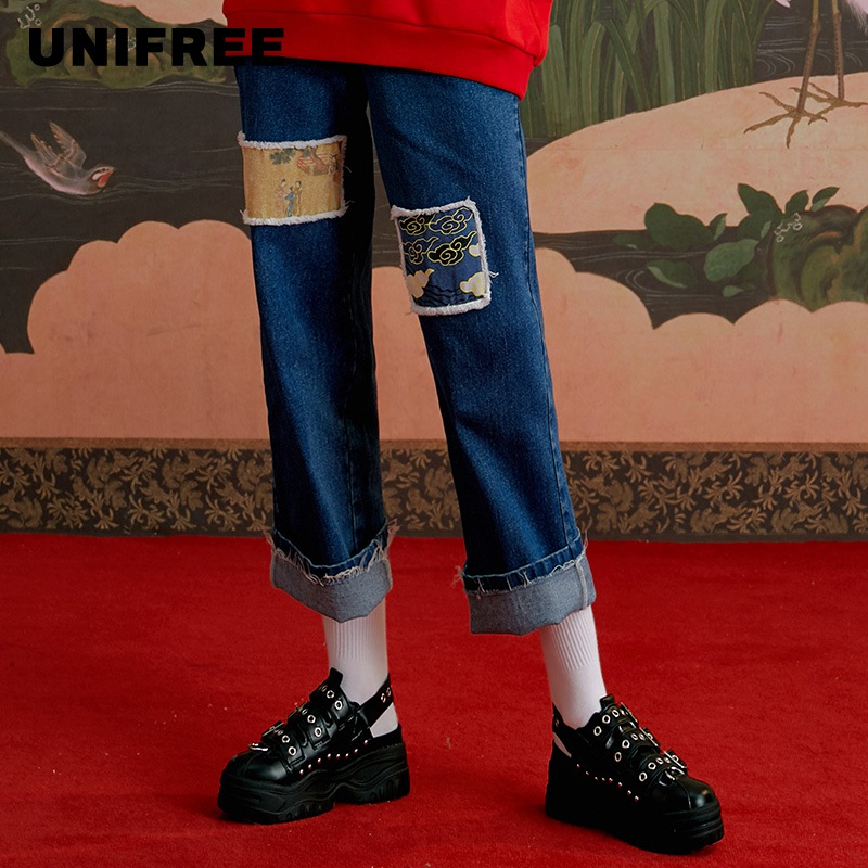 UNIFREE 2019 Winter New Fashion Straight High Waist Casual Print Simple Slim Jeans U194P319RR