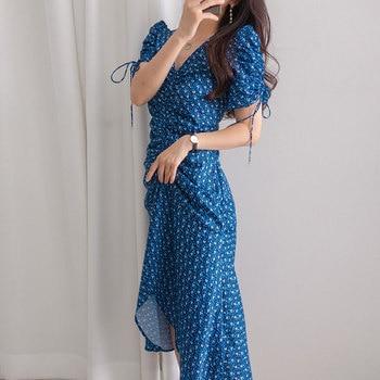 цена на Maxi Dress Short sleeve Women 2020 Summer Fashion V-neck Pleated Lace up Puff sleeve Floral Party Dresses Women's Vestidos BW246