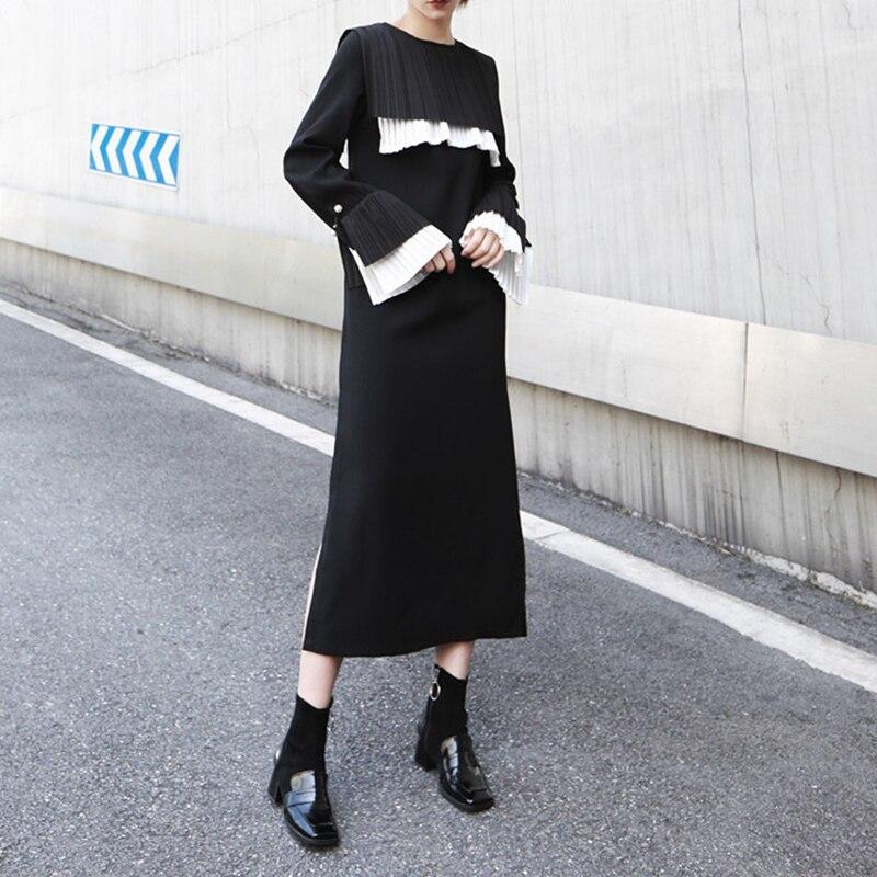 TVVOVVIN femmes noir plissé Joint longue robe nouveau col rond manches longues lâche Fit mode marée printemps automne 2019 D358 - 4