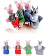 4PC Baby Toys Animal Family Finger Puppets Wooden Cartoon Theater Soft Doll Kids Educational Toys for Children Popular Gift Play(China)
