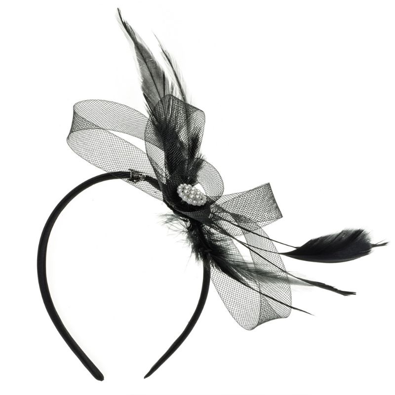 Women Ladies Fashion Feather Diamond Headband Hair Clip Wedding Bridal Hair Band Ball Party Decorative Hair Accessories