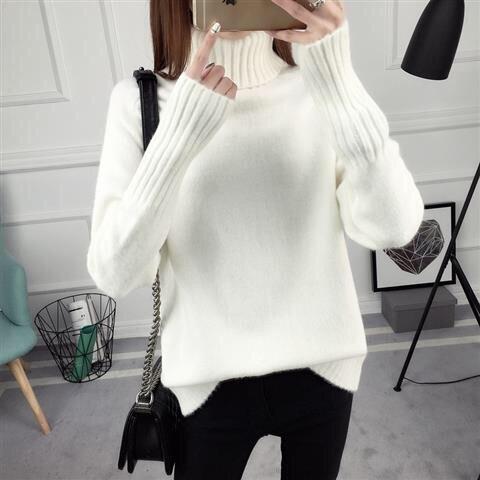 14 цветов,, осенне-зимний свитер, Женский вязаный свитер с высоким воротом, повседневный мягкий модный тонкий женский эластичный пуловер NS9097 - Цвет: Белый
