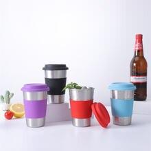 Чашка для чая и кофе из нержавеющей стали с силиконовой крышкой