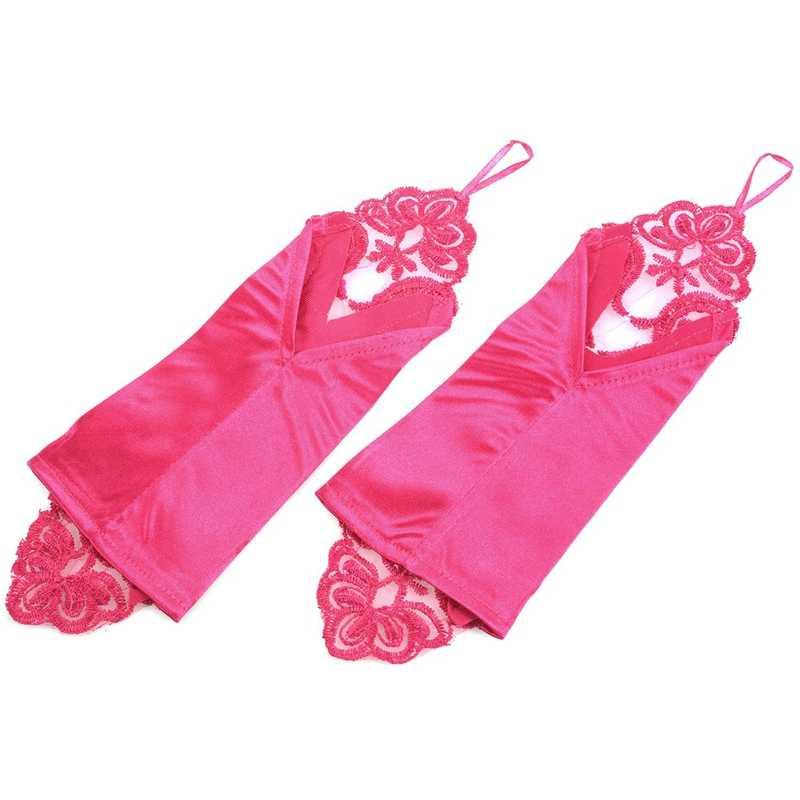 2 ペア女性フローラショートウェディングドレスグローブアップリケフィンガエレガント手袋花嫁パーティー、パープル & ローズ赤