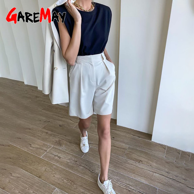 Women's Summer Shorts 2021 Long with High Waist Female Loose White Classic Knee-Length Office Wide Women's Shorts Black Candy 2