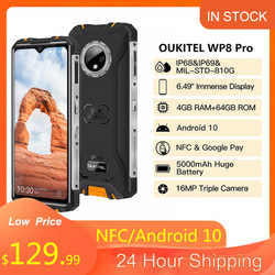 OUKITEL WP8 Pro Smartphone 4GB 64GB NFC 6.49'' HD+ Display IP68 Waterproof Mobile Phone MT6762D Octa Core Android 10 5000mAh