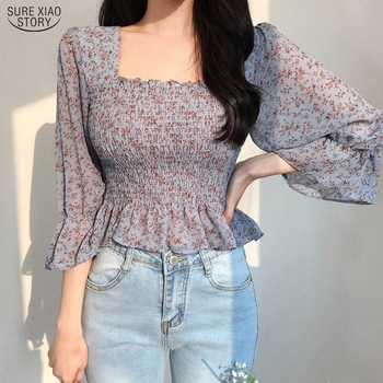 2021 Casual Flare Sleeve Pleated Chiffon Shirt Women Blusas Mujer Autumn Korean Square Collar Floral Women Blouse Backless 10280 1