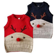 Christmas Deer Cotton Baby Knitted Sweater Vest Casual Sleeveless Crochet Knit Sweaters Autumn Newborn Boys Girls Clothes Winter(China)
