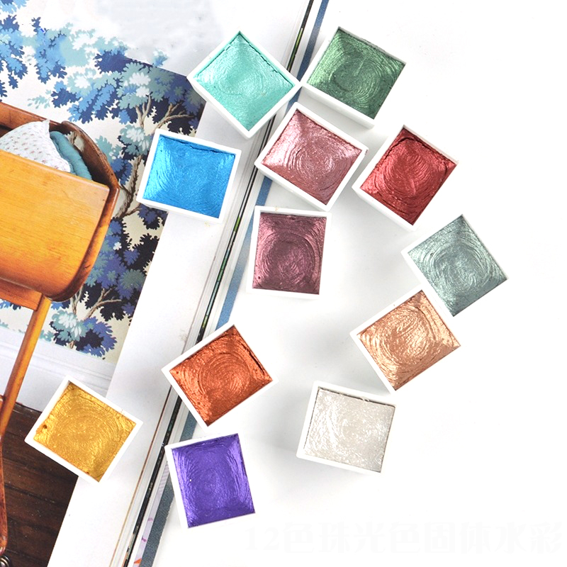 12Color Glitter Water Color Acuarelas Metallic Gold Aquarela Pigment Paint Artist Painting Watercolors Art Supplies Paint Brush