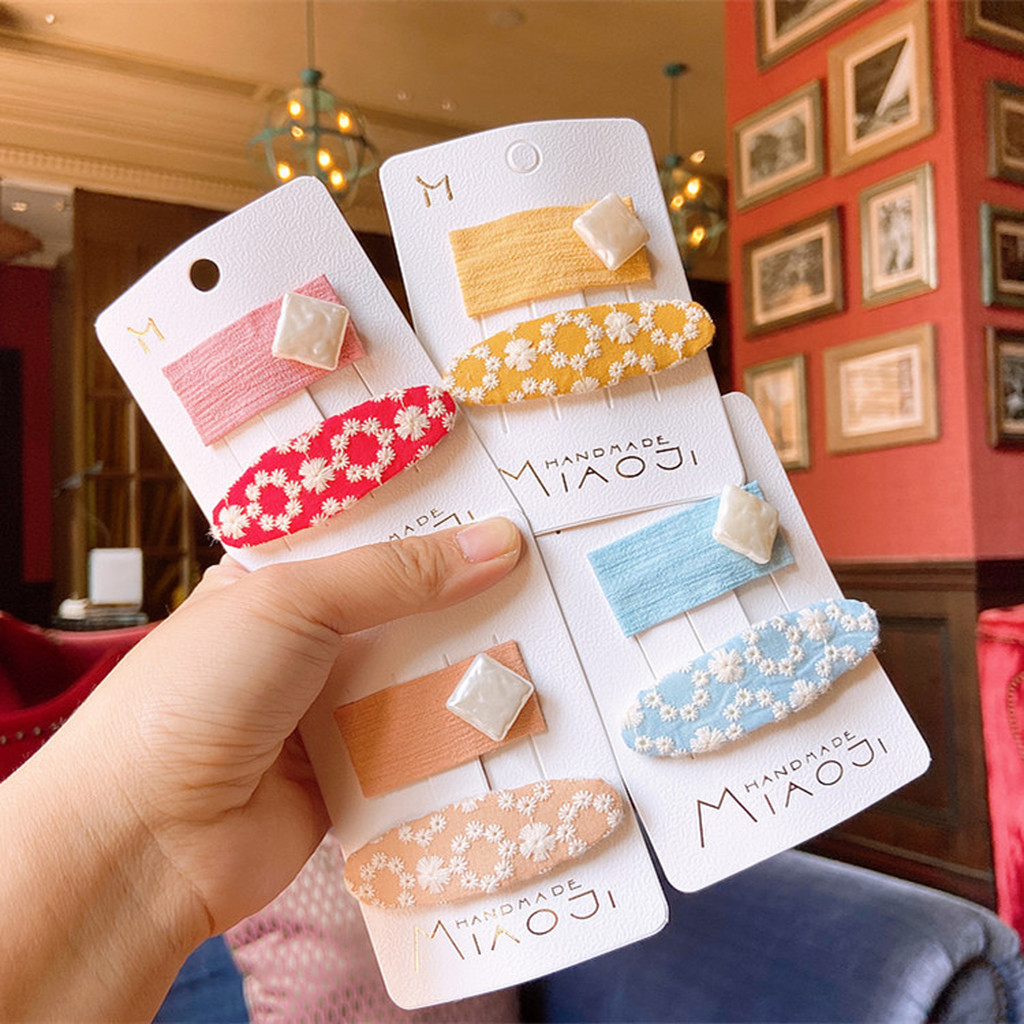 Korea Simple Cute Children Hair Pins Matte Cartoon Fruit Plant Fabric Embroidery BB Hair Clips for Girl Fashion Hair Accessories