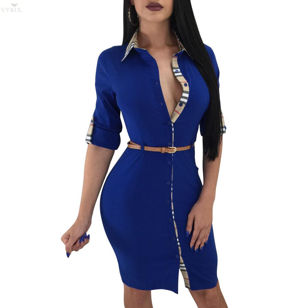Women Fashion Clothes Women Sheath Print Full None Ankle-length Regular Empire Turn-down Collar Sexy Dresses Woman Party Night