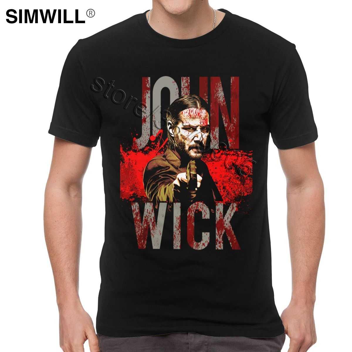 Keren John Wick T-shirt Fashion Desain Film Thriller Aksi T Shirt Lengan Pendek 100% Cotton Tee Trendi Penggemar Atasan Pakaian