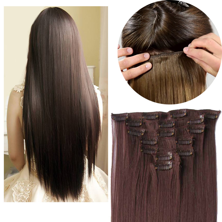 Jeedou Long Straight Clip In Hair Extension 7pcs/set 100g Synthetic Hairpiece