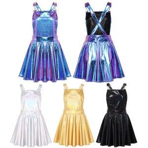 Image 2 - Robe holographique métallique métallique pour femmes, tenue de Festival, tenue brillante, boîte de nuit, danse de chanteur, à bretelles