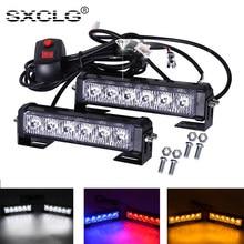 SXCLG 2PCS Car LED Grille Strobe Light Auto Emergency Warning Flashing Lamp 12V 24V White Yellow Red Blue Fog Safety Light Bar
