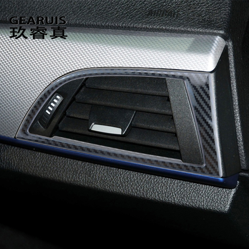 Pegatinas de fibra de carbono para consola central de coche, embellecedor de ventilación frontal, marco de salida de aire, para BMW Serie 1, F20, F21, accesorios