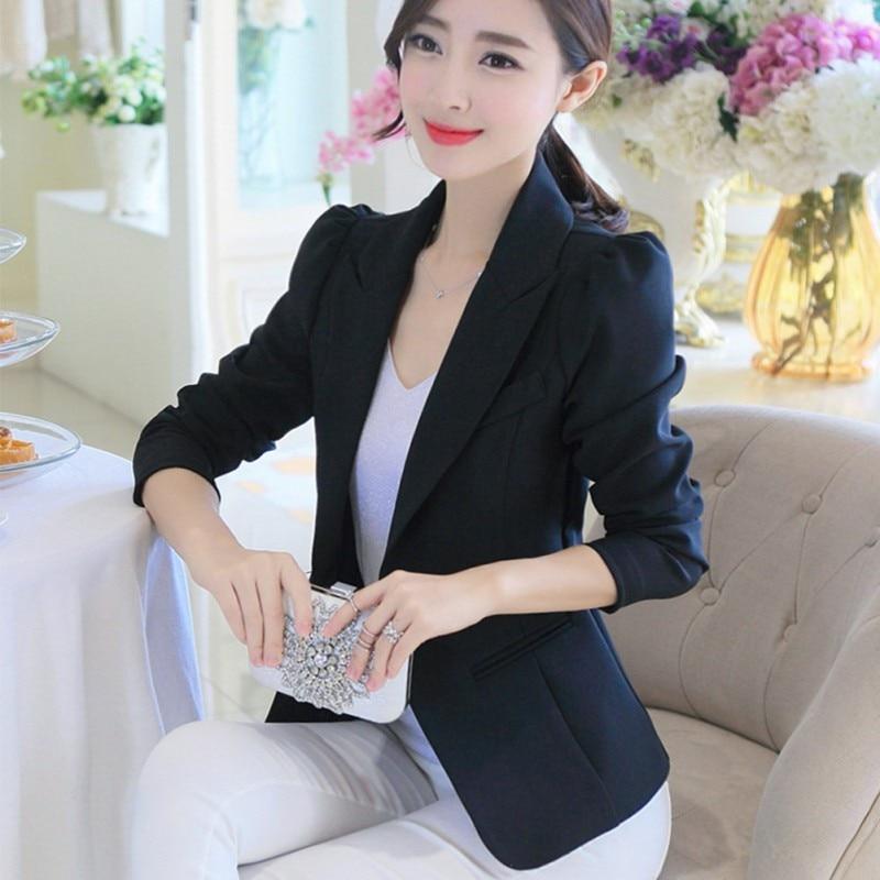 New Women Blazer Spring Slim Top Elegant Single Button Solid Color Blazer Suit Casual Long Sleeve White Women Blazer Coat