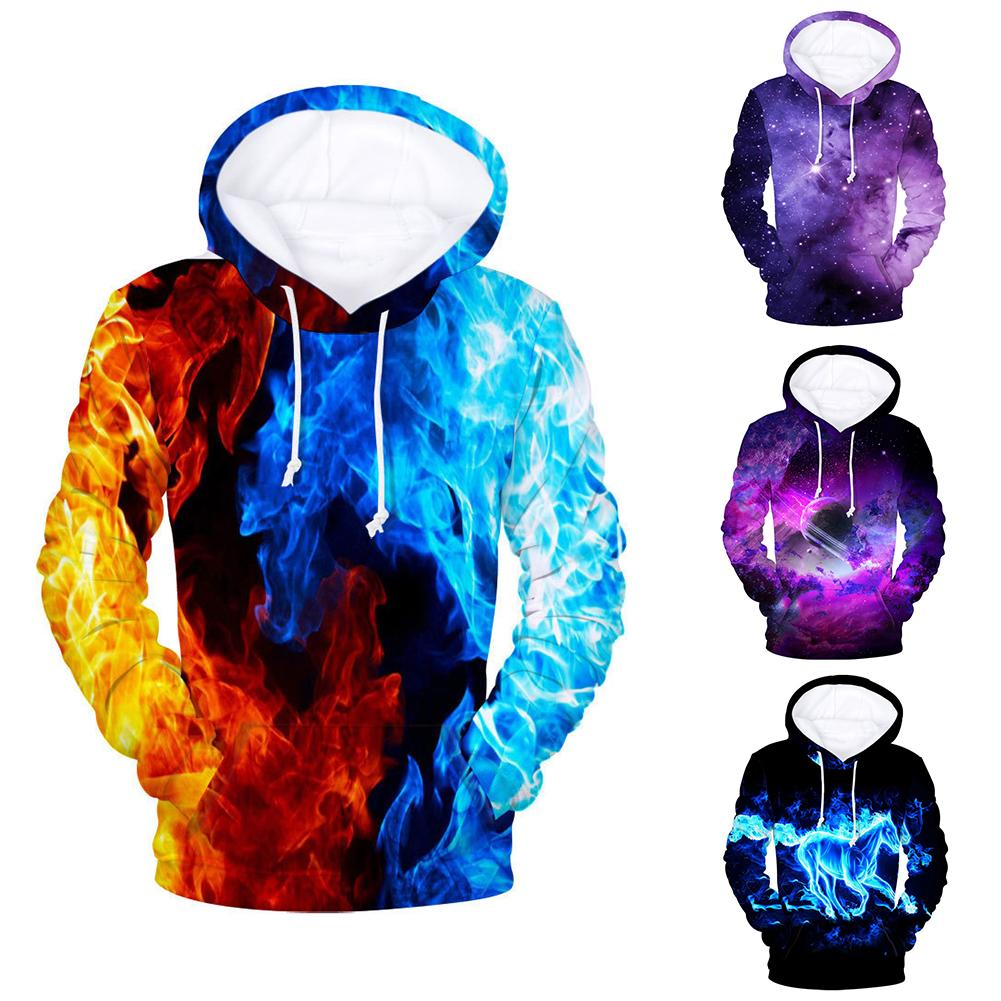 Men 3D Digital Fire Flame Print Hooded Sweatshirt Drawstring Hoodie Coat Autumn And Winter Men's Clothing