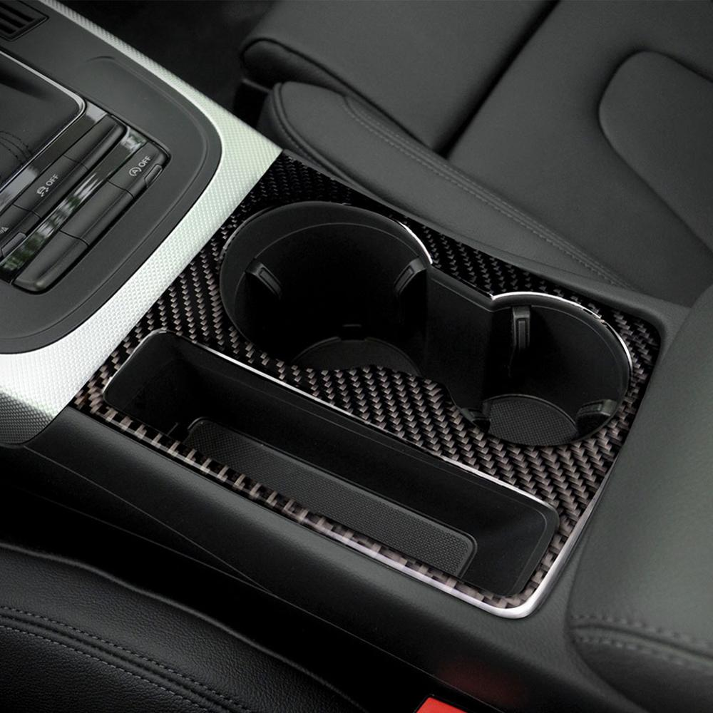 Car Styling Interior Carbon Fiber Water Cup Holder Panel Trim Sticker Decals For Audi A5 A4 B8 2009-2015 Accessories image