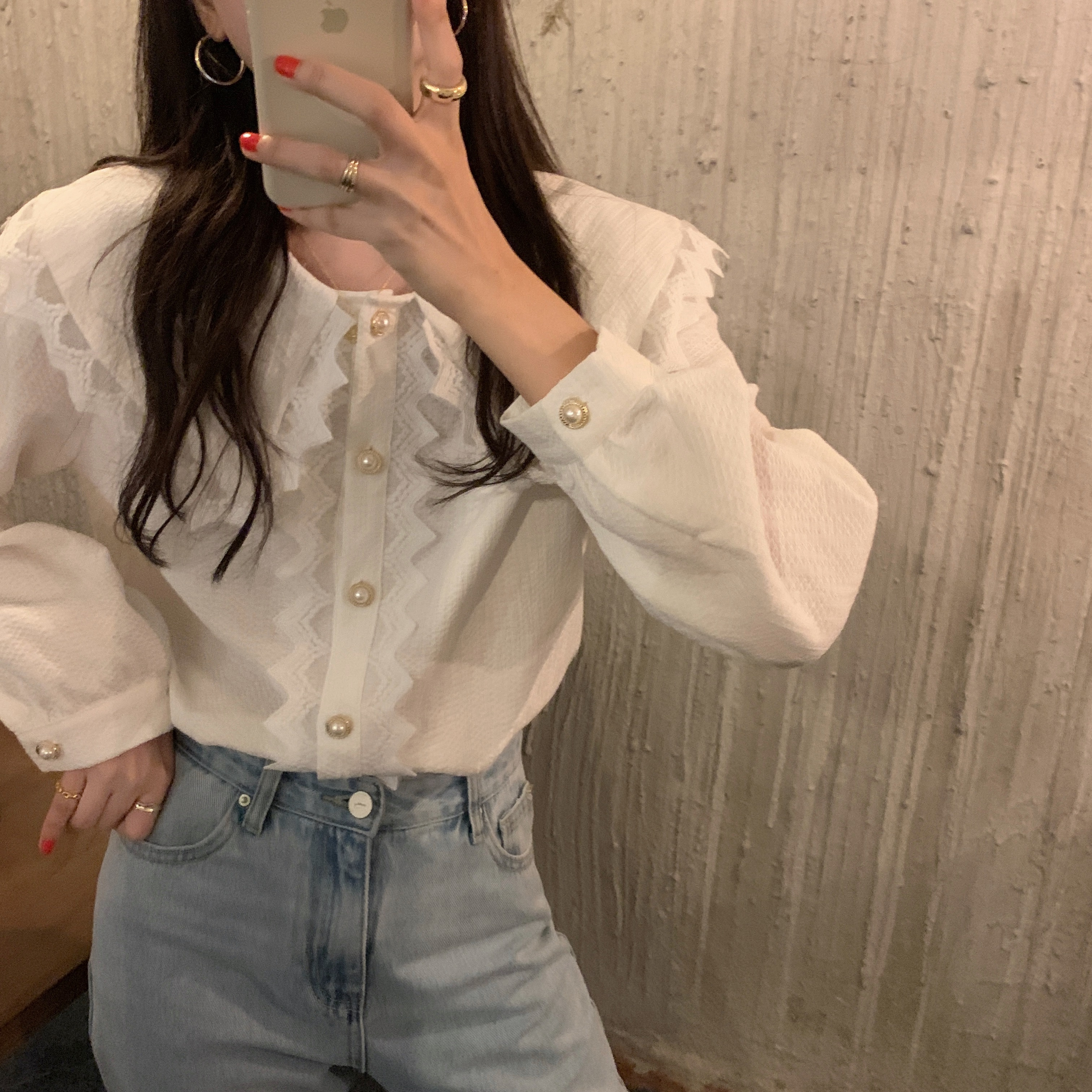 H16a3efbaf853493eaf39c5c5e0598564v - Spring / Autumn Big Lapel Collar Long Sleeves Lace Buttons Solid Blouse