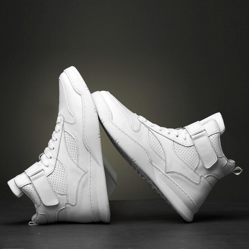 2019 г. Осенне зимняя мужская обувь повседневная мужская обувь из натуральной кожи на плоской подошве, кроссовки с высоким берцем, черная и белая обувь мужская обувь на платформе - 4