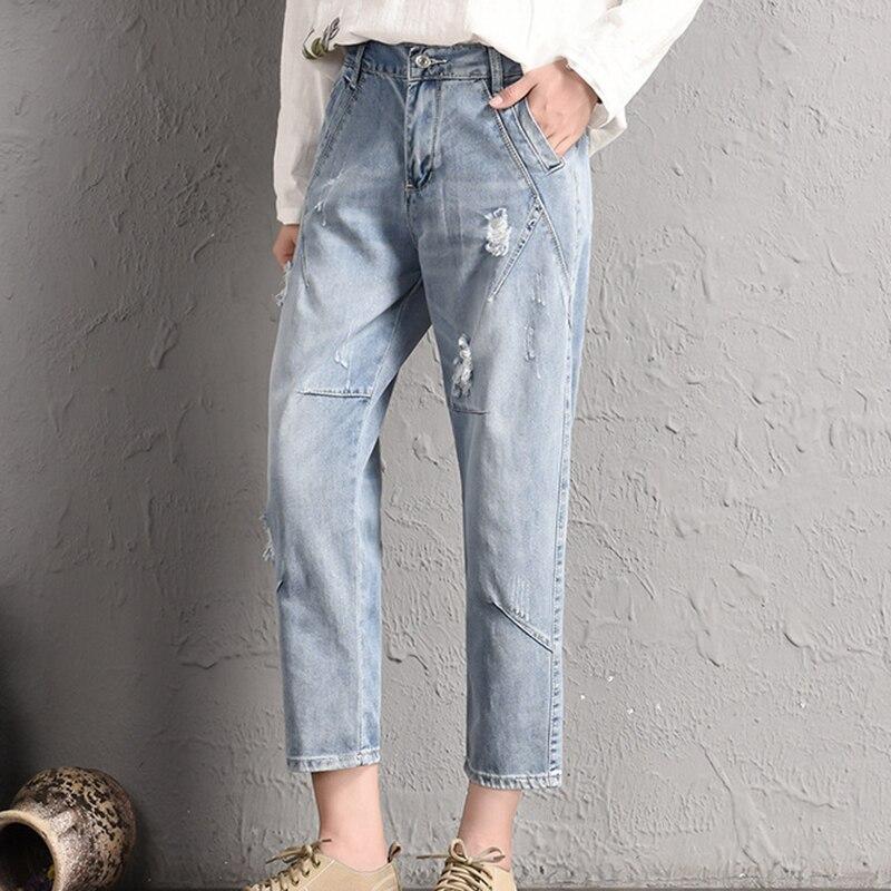 Kadın gevşek ve ince kore versiyonu elastik büyük boy M-5XL delik dokuz puan kot bel öğrenci beg saç harem pantolon