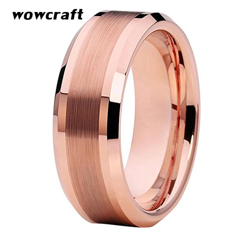 Rose Gold Tungsten Wedding Bands Ring for Men Women Comfort Fit Beveled Edges Brushed Polished