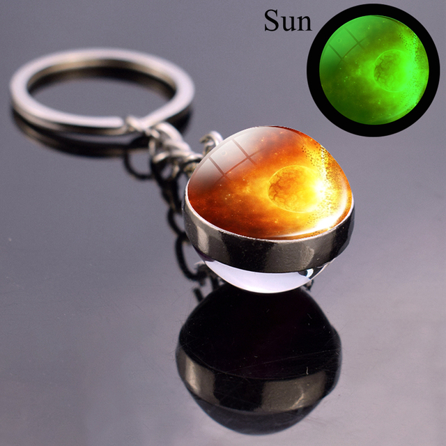 Luminous Moon Glass Ball Key Chain Earth Sun Jupiter Planet Keychain Galaxy Solar System Jewelry Glow The Dark Pendant Gift 2