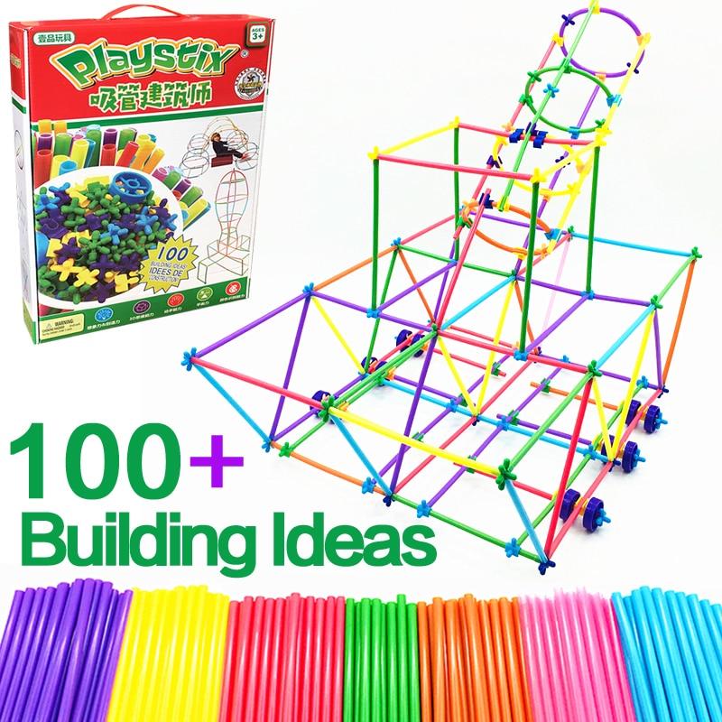 Playstix Straw Architect 4D Building Blocks Boy Inserted Construction Assembing Bricks Educational Children's Toys Kid's Gift