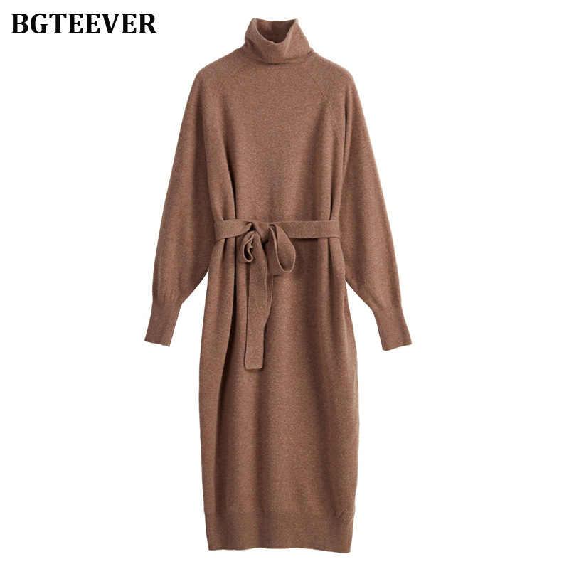 Женское платье-свитер, платье-водолазка с длинными рукавами и поясом, женское вязаное платье средней длины, свободное женское вязаное платье, Осень-зима 2019