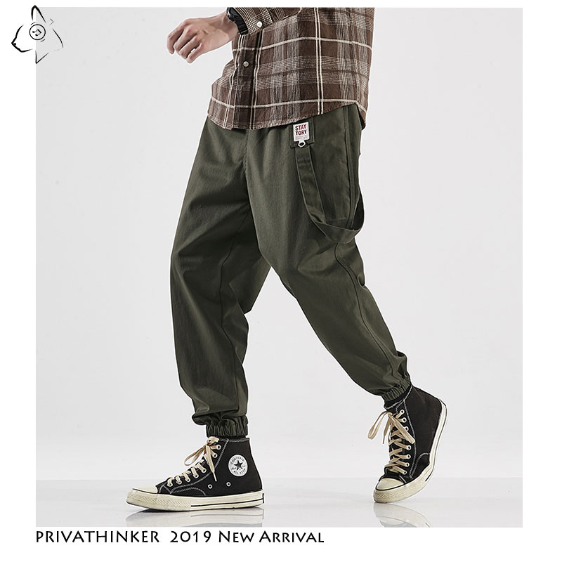 Privathinker Men Casual Pockets Cargo Pants 2019 Mens Streetwear ArmyGreen Joggers Korean Loose Male Trousers Plus Size Autumn