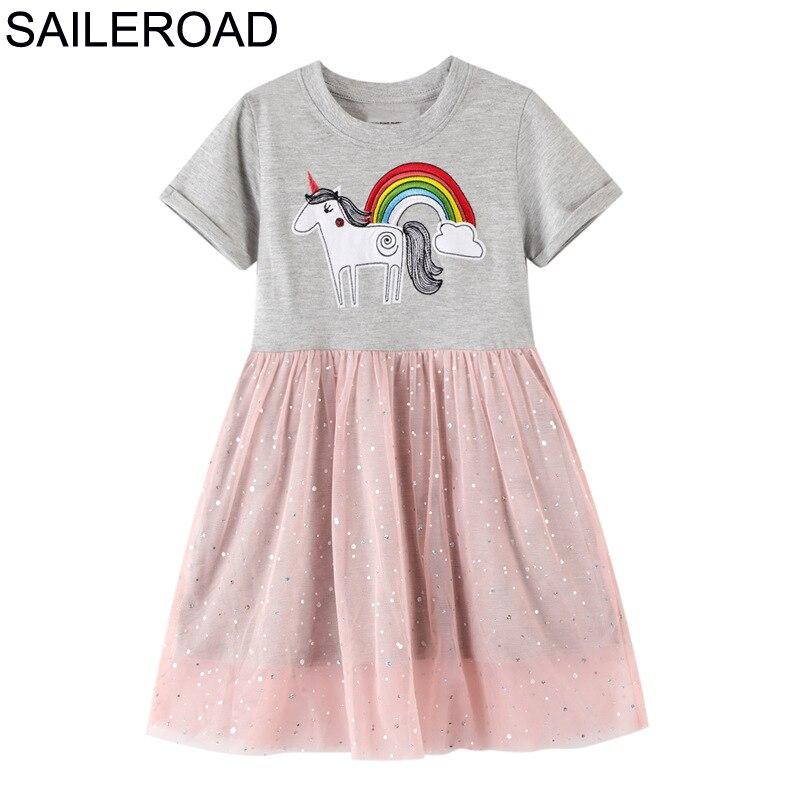SAILEROAD Unicorn Applique Girls Mesh Dress For Kids Clothes Paillette Children Dress Kids Party Dress Vestido