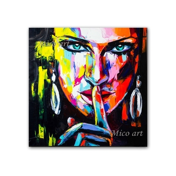 100% Hand painted Sexy Woman Portrait Face Oil Painting Canvas Wall Decor Artwork Paintings Wall Art Living Room Decoration