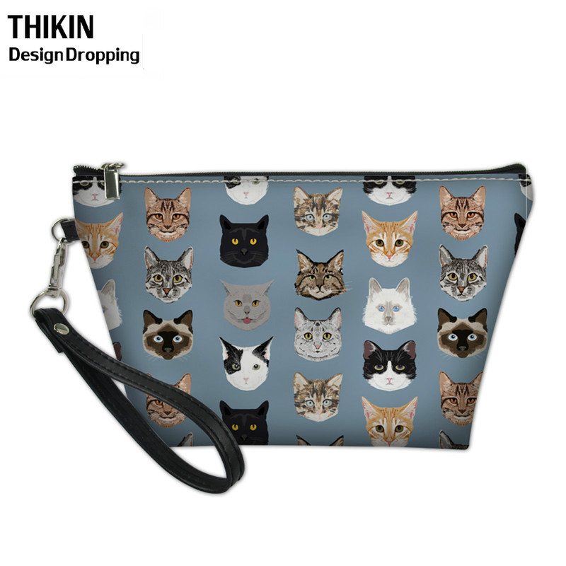 THIKIN Cartoon Women Cosmetic Cases Cute Spectacular Cats Pattern Large Make Up Bags Ladies Portable Travel Toiletry Wash Bag
