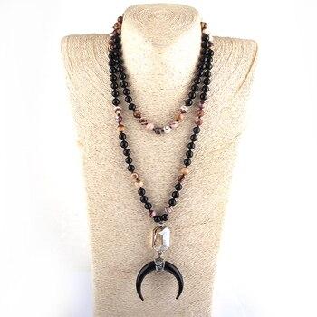 Moda 108 cuentas Mala piedra negra enlace de cristal anudado Luna Negra colgante de luna