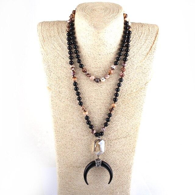 Moda 108 cuentas Mala piedra negra enlace de cristal anudado Luna Negra colgante de luna creciente