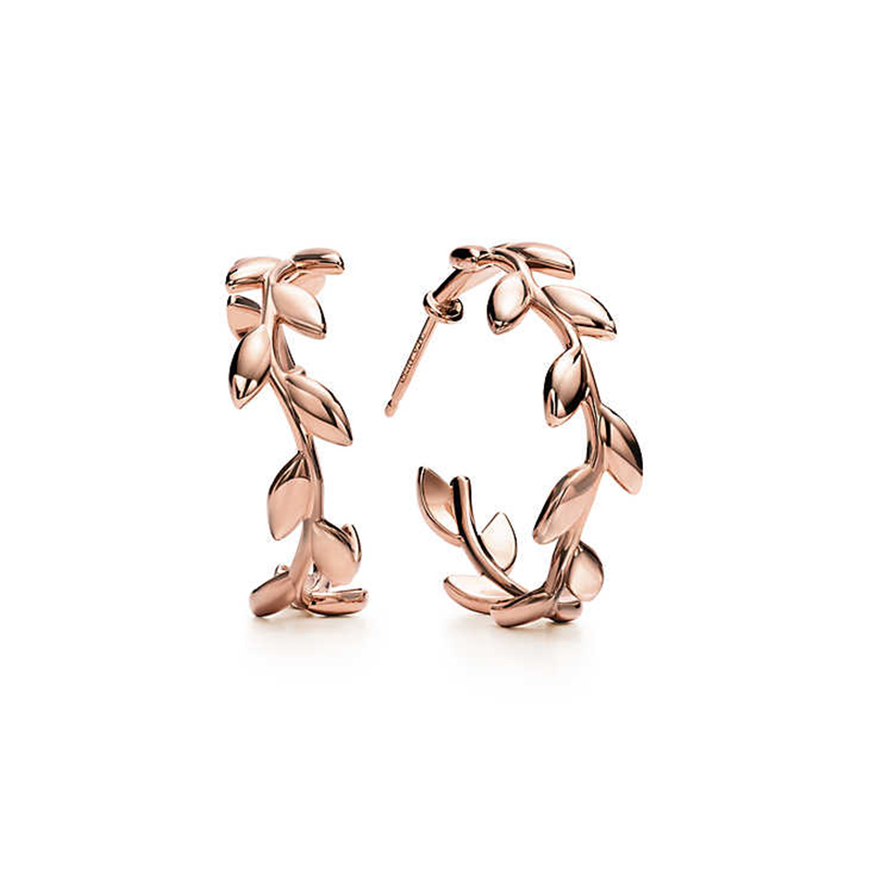 KN tiff earrings leaf shape classic style original 100 925 sterling silver women 39 s fashion high end jewelry free shipping in Stud Earrings from Jewelry amp Accessories