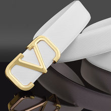 High Quality Designer White Belts Men Fashion Genuine Leather V Belt luxury Brand Black Cowskin Casual Waist Strap Ceinture Homm