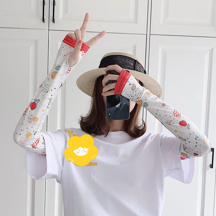 2 Pieces = 1 Pairs Sun-resistant Women's Hand Arm Warmers Printed Viscose Gloves Driving  Ice Cute Fruit Warmers