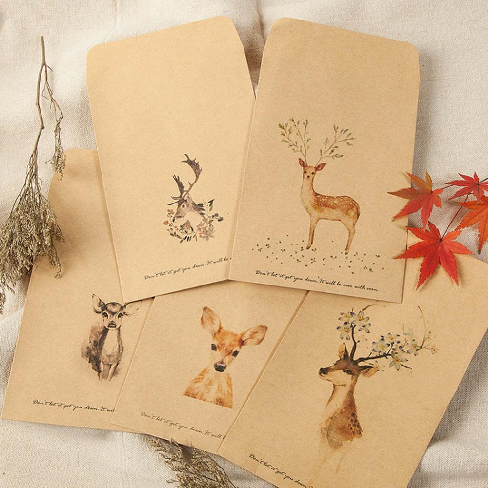 10 PCS/pack DIY Deer Envelope Cute Retro Kraft Paper Envelopes Gift Card Office Stationery Supplier  Beautiful Available