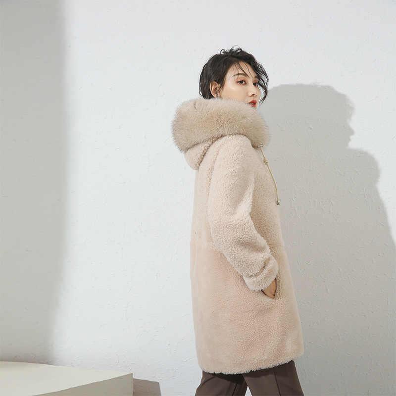 리얼 모피 코트 여성 겨울 자연 여우 모피 후드 자켓 여성 의류 2020 한국어 100% 양털 깎기 코트 양모 자켓 19051