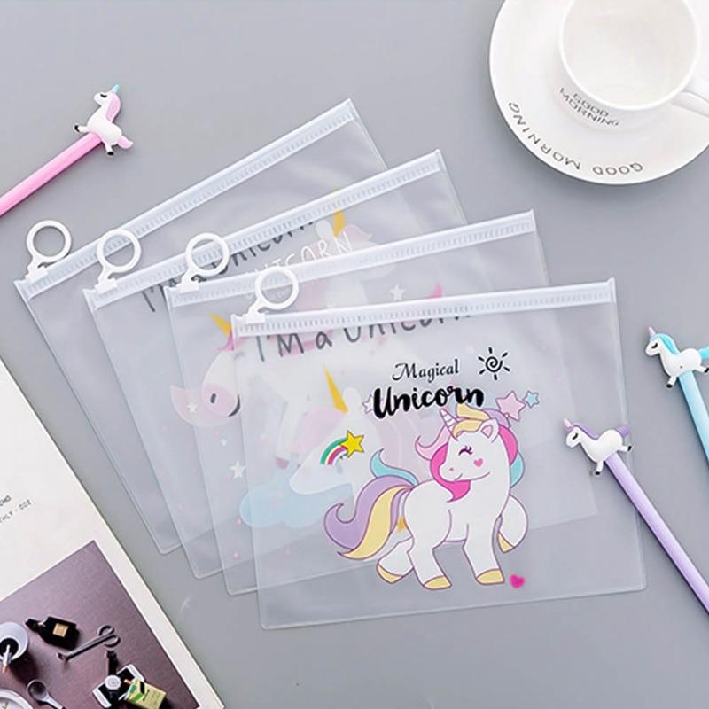 1 Pcs Hot Cute Unicorn Transparent PP Buckle Document Holder FOR A5 Office Folder Storage Package  Paper File Folder