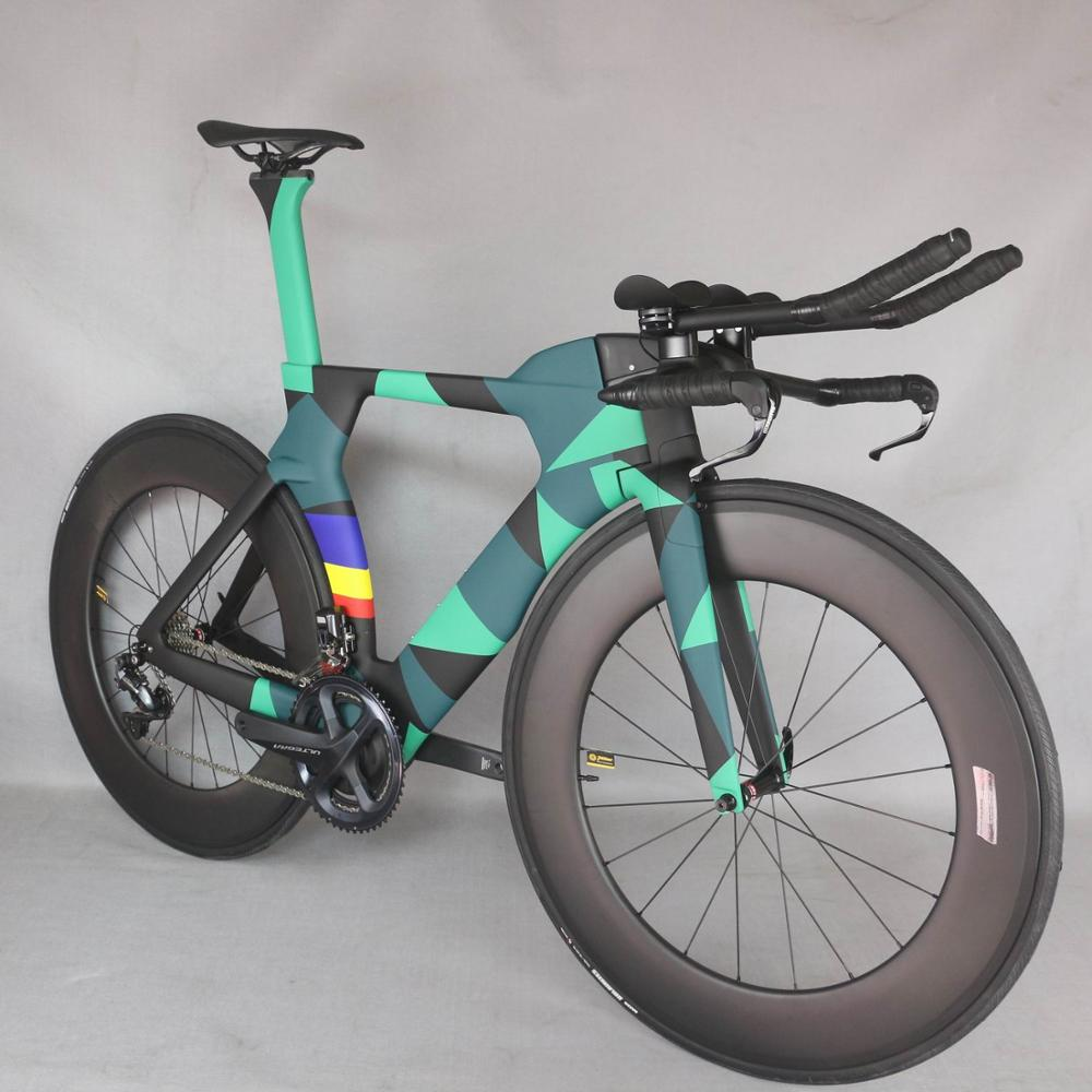 2021 new paint TT Bike TT Bicycle Time Trial Triathlon Carbon Fiber Carbon black color Painting Frame with DI2 R8060 groupset