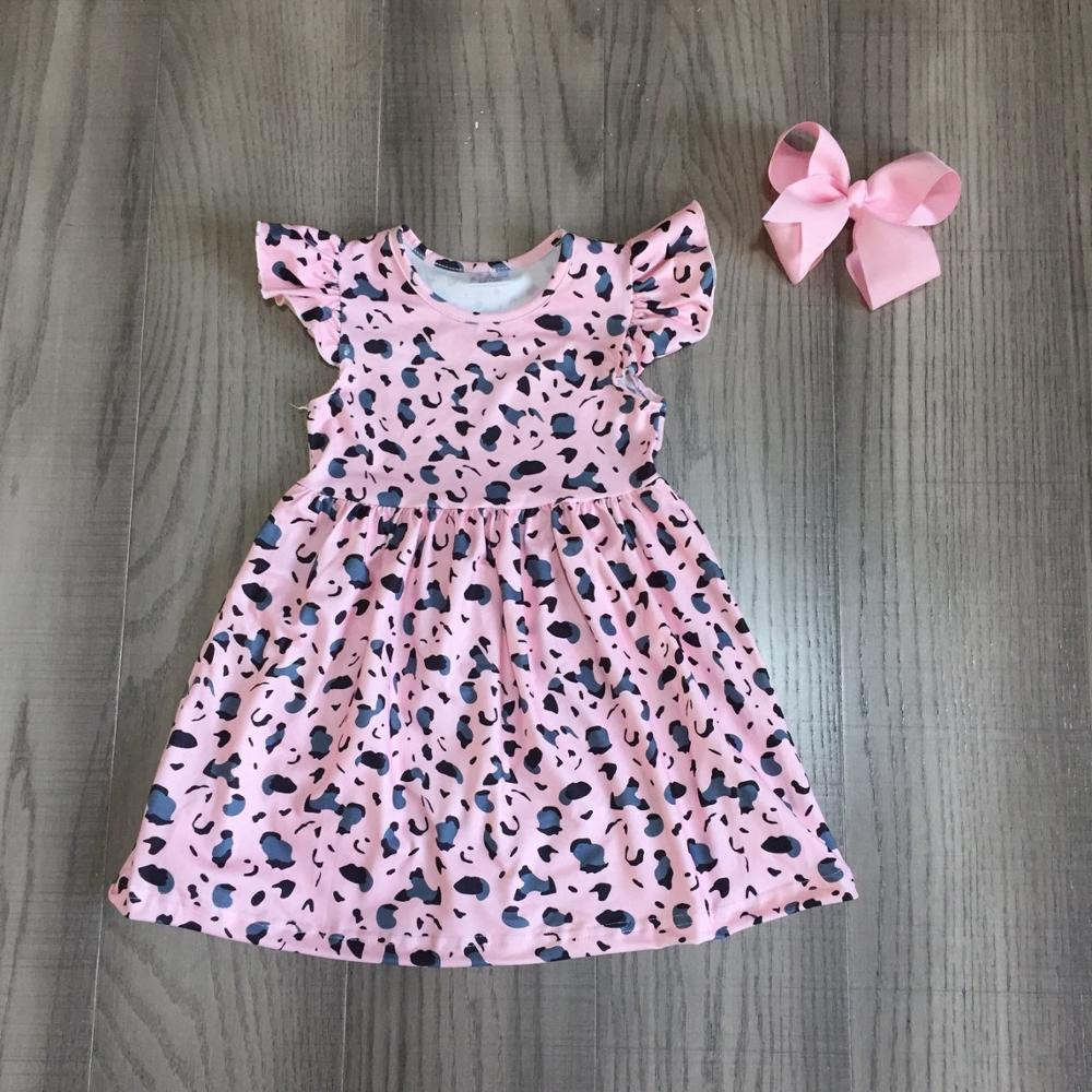 Exclusive summer baby girls children clothes boutique leopard flower farm dinosaur cotton milk silk knee length dress match bow 5