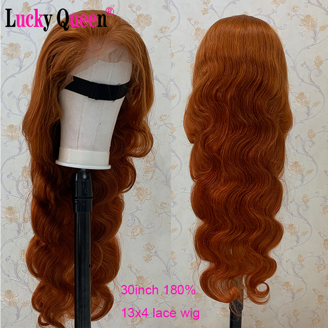 $ US $50.66 Orange Ginger Glueless 13x6 Lace Front Human Hair Wigs With Strap Lace Frontal Wigs Brazilian Body Wave 100% Human Hair Remy