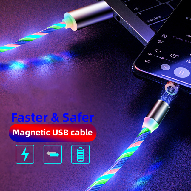 Glow LED Fast Magnetic USB charger for both iphones and Androids  2