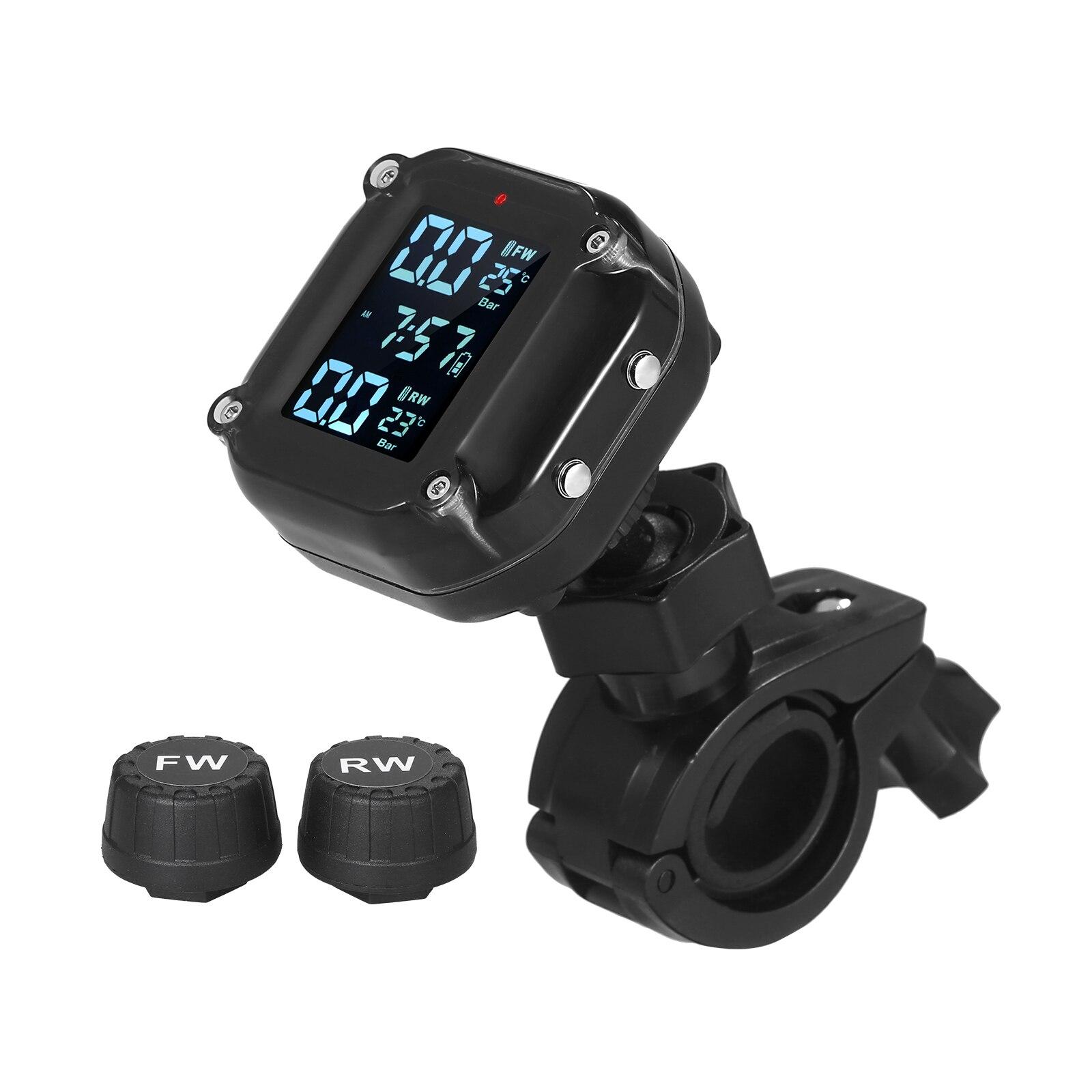 Système de surveillance étanche de la pression des pneus de moto 7 Modes d'alarme réveil automatique sans fil TPMS avec 2 capteurs externes
