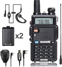 BaoFeng Walkie Talkie UV-5R Ham Dual-Band Two Way VHF/UHF CB Radio 5 watts 1800mAh Li-ion Battery Waterproof ,Transceiver