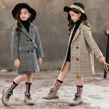 2019 Winter Girls Wool Long Coat Kids 4 15 Years Outerwear Clothes Thick Children Casual Turn down Collar Plaid Woolen Jackets